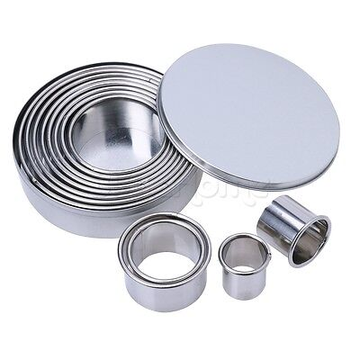 Set Round Stainless Steel Cake Biscuit Cookie Cutter Mold DIY Baking Pastry Tool