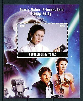Chad 2016 MNH Carrie Fisher Princess Leia Star Wars 1v M/S Han Solo Stamps