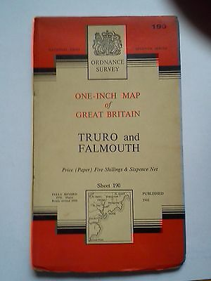 One-Inch 7th Series Ordnance Survey Map Sheet 190 Truro and Falmouth Pub 1961