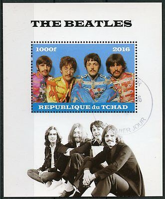 Chad 2016 CTO The Beatles John Lennon Paul McCartney 1v M/S Music Stamps