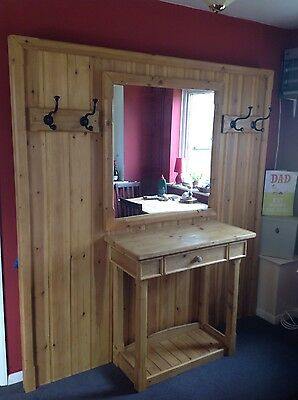 Hall table with mirror and coat hooks and shoe storage ! REDUCED PRICE!!!