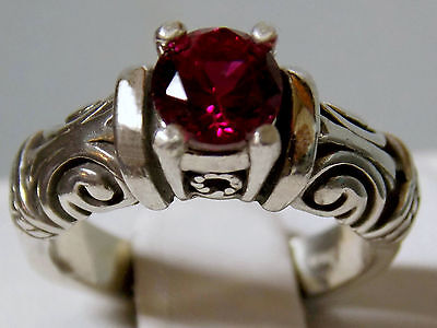 blood red 1ct ruby antique 925 sterling silver ring size 9 USA made