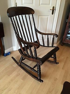Exquisite Bobbin Turned Victorian Rocking Chair c1880