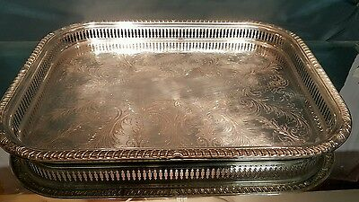 A large vintage silver plated gallery serving tray.made in england.by cavalier.