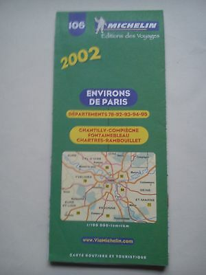 2002 1:100,000 Michelin Map of France No.106 Environs of Paris