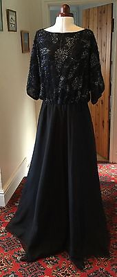 GINA BACCONI VINTAGE 1980's BLACK EVENING DRESS - SIZE 16