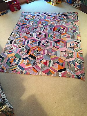 Pretty, Vintage Hand Stitched, Quilt Top - Spider Web Pattern