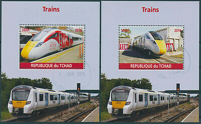 Chad 2016 CTO Modern High Speed Trains 2x 1v M/S Virgin Azuma Railways Stamps