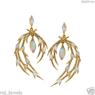Solid 18k Yellow Gold Dangle Earrings Pave Diamond Opal Gemstone Wedding Jewelry