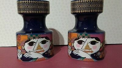 Pair of Rosenthal Bjorn Wiinblad candle holders - stamped and signed