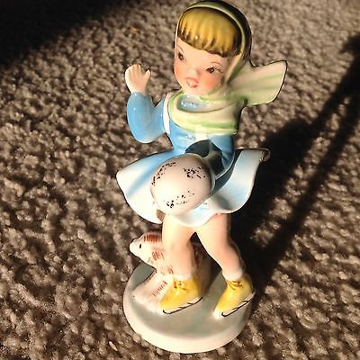 Vintage Japan  Penticton L. C Ceramic Ruth Figurine Skating Girl w muff and Dog