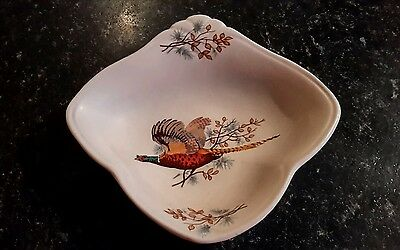 Vintage Axe Vale Devon Pottery Pin Dish With Pheasant Decoration