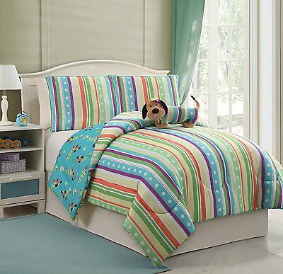 3 Piece Puppy Dog+Stripe Reversible Comforter+PillowCase+Toy Bedding Set Twin