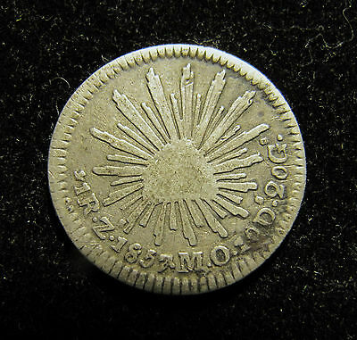1857 Zs Mexican Silver 1 Real