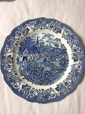 Set of five blue vintage style Royal Staffordshire dining plates