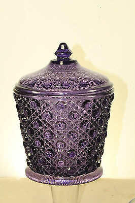 Antique Davidson England Purple Amethyst Glass Bisquit Jar