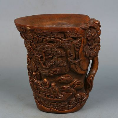 Chinese Hand-carved Exquisite character landscape Bamboo cup