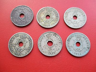 6 old Belgium coins early 20th century (ref 124)