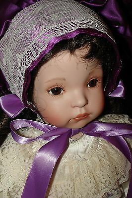 "Dianna Effner 1990's 20"" Porcelain Doll, from a kit? Lovely, beautiful dress/wig"