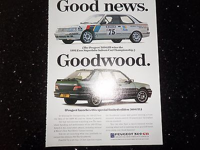 Peugeot 309 GTi 1.9 Goodwood Limited Edition 1993 Original A4 Advertisement