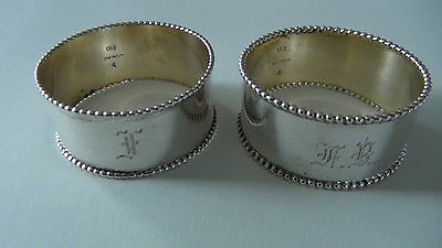 Antique Sterling Silver Engraved Napkin Rings Beaded Design