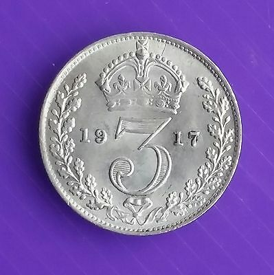 1917 George V Silver Threepence Unc