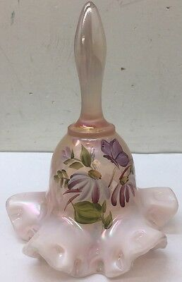 """Fenton Opalescent Pink Carnival Butterfly Hand Painted Bell Signed Mint 6.5"""""""