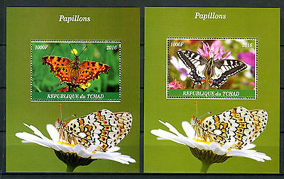 Chad 2016 MNH Butterflies 2x 1v M/S Papillons Insects Stamps
