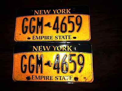 "Vintage Pair Of New York State License Plates ""ggm 4659"" Gold/black"