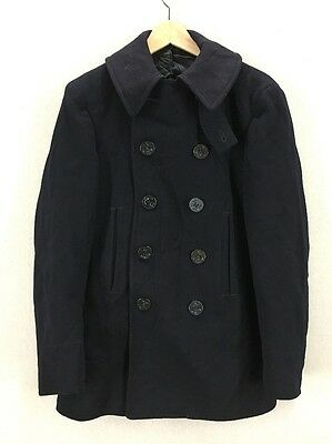Vintage WW2 USN Navy 10 Button Wool Peacoat Jacket W/ Chin Strap Distressed