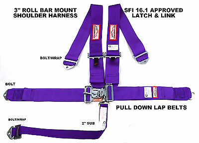 "Sfi 16.1 Racing Harness 5 Point Roll Bar Mount 3"" Latch & Link Purple Rdn"