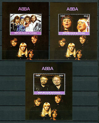 Chad 2016 MNH ABBA 3x 1v M/S Music Celebrities Stamps