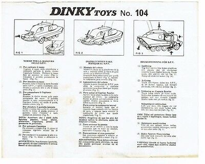 Dinky Toys No.104 Spectrum Pursuit Vehicle Original Operating Instructions 201