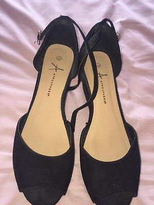 Women's Black Wedge Sandals, Ankle Strap Size 7 (40/41)