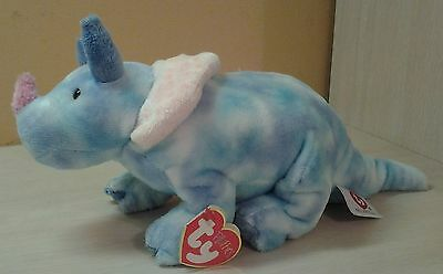 "TRICERATOPS DINOSAUR Tromps 2005 Ty Tie Dye Retired Plush 13"" Pluffies"