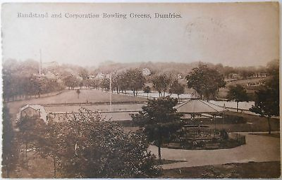 Vintage c1942 Postcard Bandstand & Corporation Bowing Green Dumfries Scotland