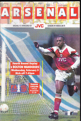 1993/94 ARSENAL V BOLTON WANDERERS 09-02-1994 FA Cup 4th Round Replay