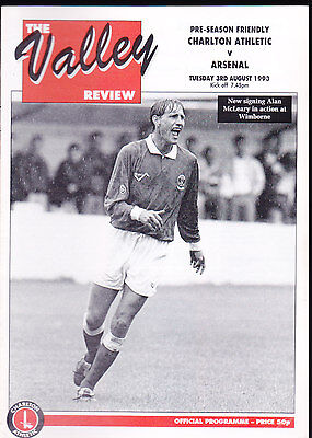 1993/94 CHARLTON ATHLETIC V ARSENAL 03-08-1993 Pre-Season Friendly