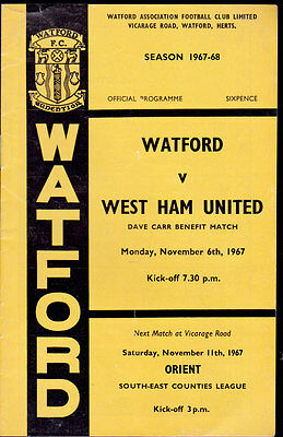 1967/68 WATFORD V WEST HAM UNITED 06-11-1967 Dave Carr Benefit Match
