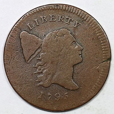 1795 C-6a R-2 Struck over T.A.L. Liberty Cap Half Cent Coin 1/2c