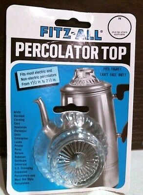 """Tops 00246 Fitz-All Replacement Percolator Top Glass Fits 1-1/2"""" to 2-1/2"""" FS"""