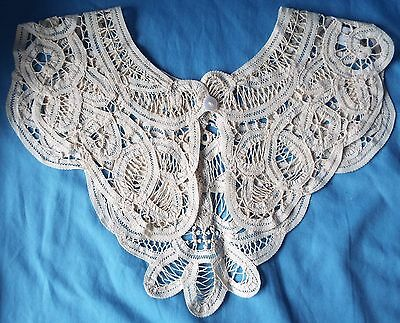 Vintage Ladies' Ivory Battenburg Style Tape Lace COLLAR with Button
