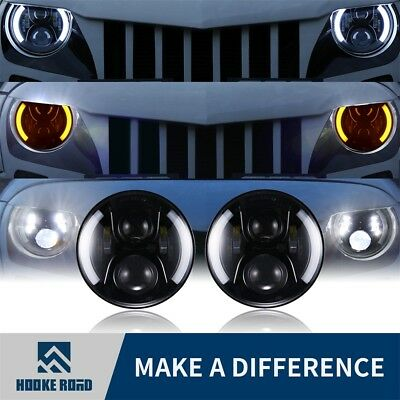 "2x 7"" Inch CREE LED Headlight Angel Eye Halo DRL for Jeep Wrangler JK TJ 97-17"