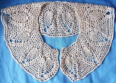 Antique or Vintage Ladies' Ecru CROCHETED Lace COLLAR