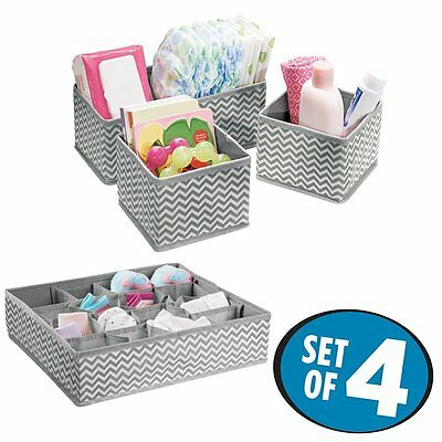 mDesign Chevron Fabric Baby Nursery Closet Organizers for Clothing, Diapers, -