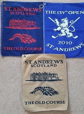 3 St Andrews Scotland Golf Towels The Old Course, 2010 Open Excellent Condition