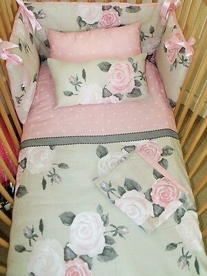 Stunning Pink/olive Rose/floral/vintage/Spots Cot/cot Bed Full Set Girls