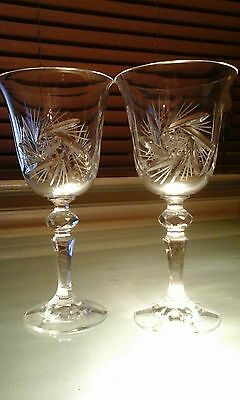 Two Unused Bohemian Clear  Star Cut Crystal Wine / Hock Glasses