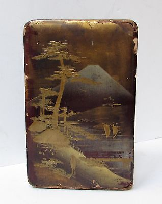 Antique Japanese Lacquer Box Mt. FUJI Gold Silver Japan NR