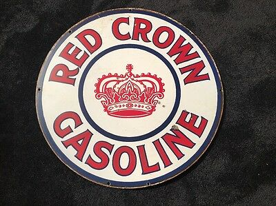 """Antique Scarce Original Standard Red Crown 30"""" Double Sided Porcelain Gas Sign!!"""